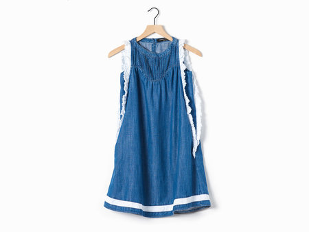 Ampersand Heart Chambray & White Flutter Dress