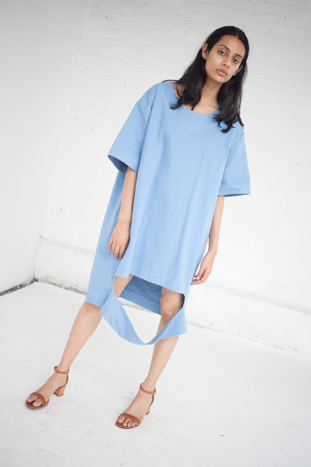 Nancy Stella Soto Cut Out Denim Tee Shirt Dress in Blue