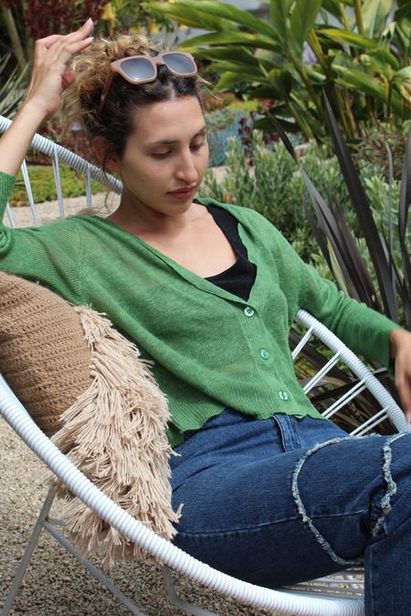 Beklina 3/4 Linen Knit Cardigan Basil