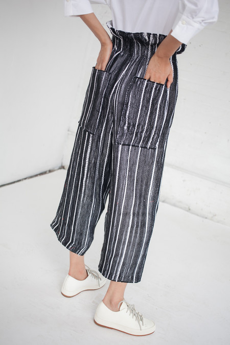Luna Del Pinal High Waisted Trousers in Black & White Stripe
