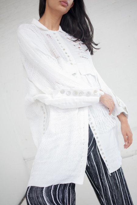 Luna Del Pinal Long Raw Cotton Shirt in Off White