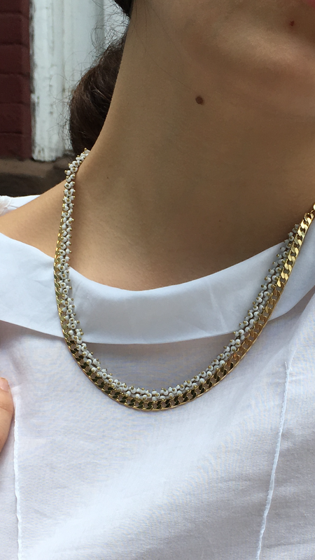 Mercurial NYC Mercurial White Seed Bead and Gold Chain Necklace