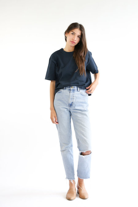 Side Party Day Cropped T-Shirt - Navy