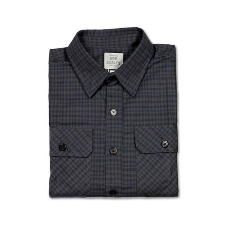Product of Bob Scales Long Sleeve Work Shirt in Dark Blue Grey Plaid