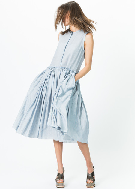 Sara Lanzi Sleeveless Button-Up Gathered Dress