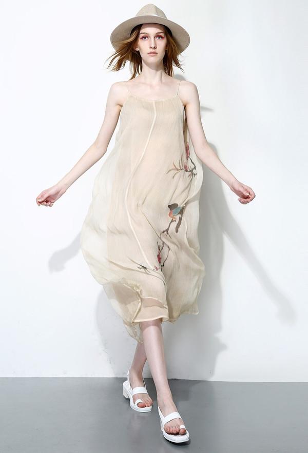 Few Moda Chinese Painted Maxi Dress