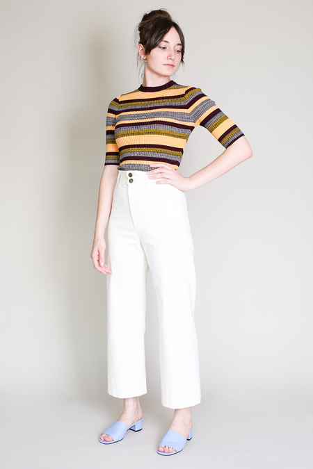 Apiece Apart Knit second skin top in august sky stripe