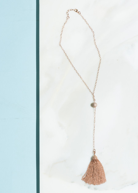 Jewels by Piper Rose Gold Y Tassel Necklace