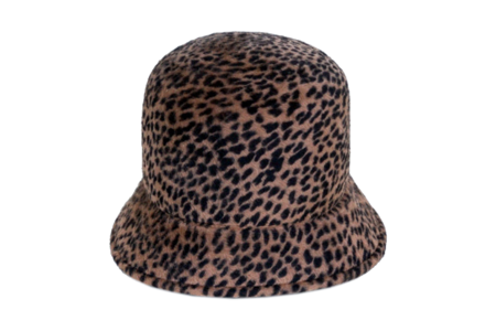 Clyde Batta Hat in Cheetah Angora