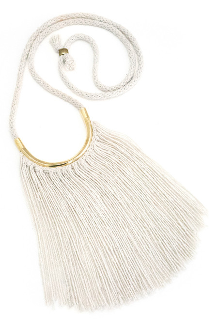 Erin Considine LUNATE FRINGE CREME SILK NOIL NECKLACE