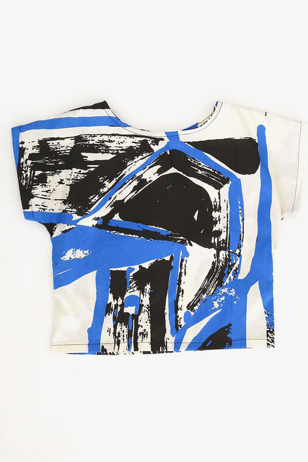 Kid's Black Crane Linen Box Tee - Black/Blue