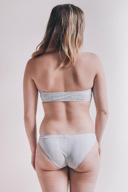 Mimi Hammer Grey Stripes Ruffle Bandeau Top