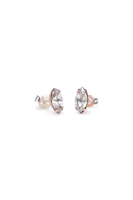 Bing Bang NYC Tiny Marquis Studs Clear Rose Gold