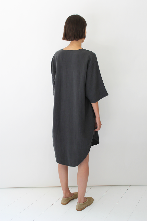 ULIHU silk + linen dress charcoal black