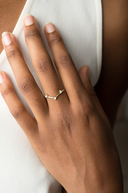 WWAKE Three-Step Triangle Ring with Opals