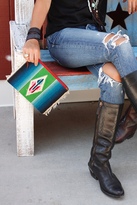 totem Salvaged woven and serape clutch