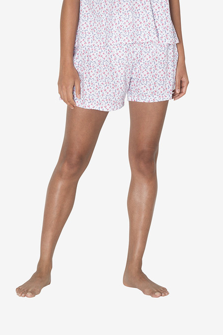 The Sleep Shirt Pleat Short Red Floral Print