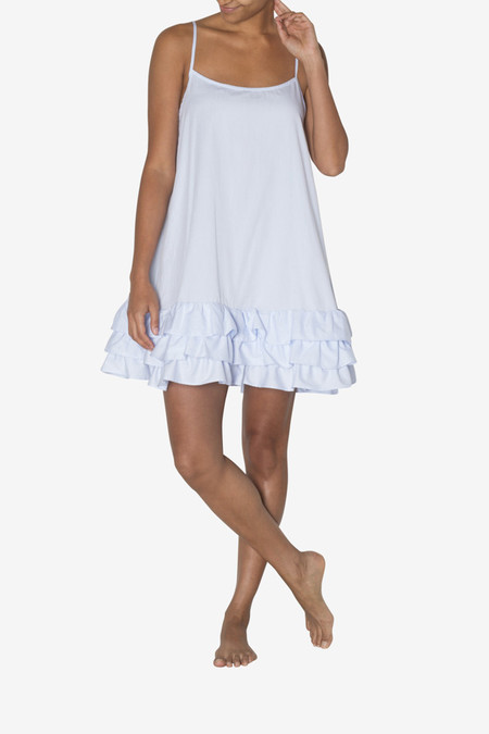 The Sleep Shirt Ruffle Nightie - Light Blue Twill