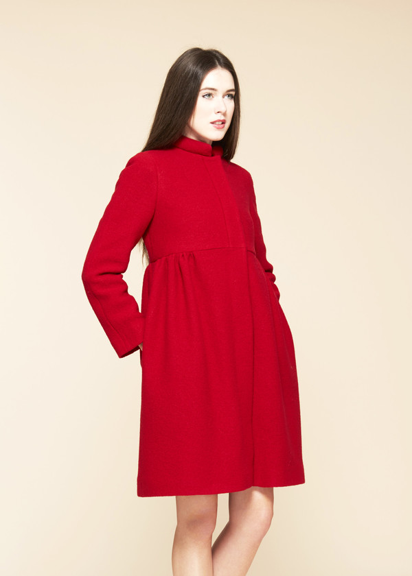 Cacharel Boiled Wool Pintuck Coat