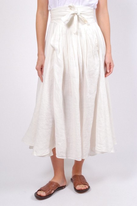 Black Crane Wrap Skirt - Eggshell