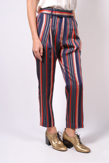 Smythe Cropped Pleat Pant - Multi Stripe