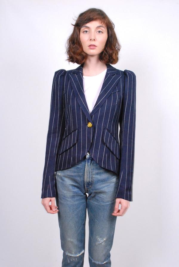 Smythe Pouf Sleeve One Button Blazer - Pinstripe
