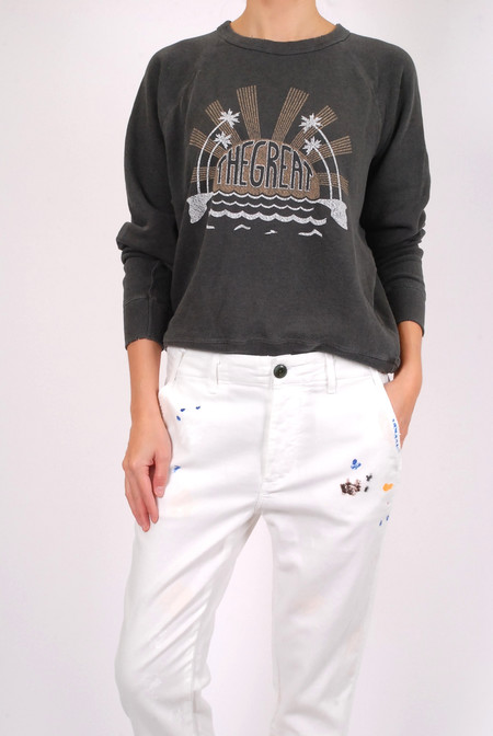 The Great The College Sweatshirt - Washed Black
