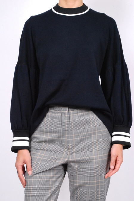 Tibi Merino Wool Puff Sleeve Pullover - Navy Multi