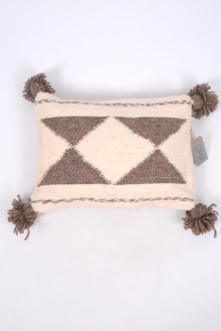 Totem Monarch Wool Pillow - Cream/Grey