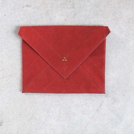 Jerome Dreyfuss Popoche Envelope L in Nubuck Rouille Lambskin
