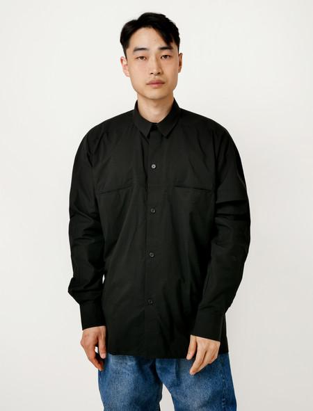 Hed Mayner Button Down Bedsheet Shirt - Black