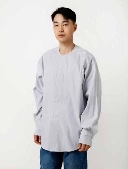 Hed Mayner Collarless Shirt Grey Pinstripe