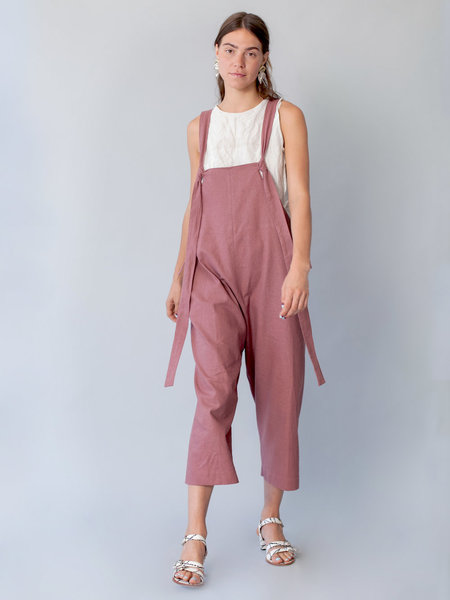 Lera Pivovarova Linen Work Frida Overalls in Pale Raddish