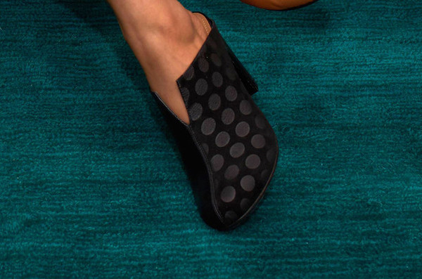 The Palatines Shoes dimidia comma heel clog - black leather / black dot suede