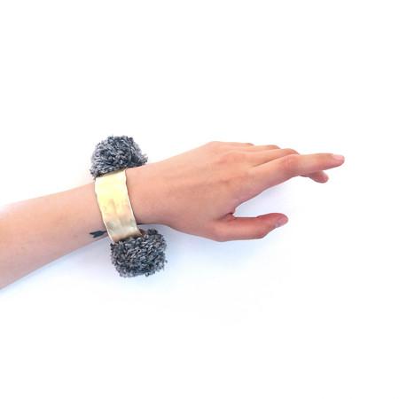 Takara Pom Pom Bracelet in Grey