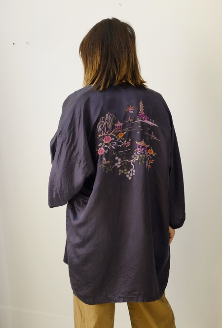 Hey Jude Hand Embroidered Silk Robe