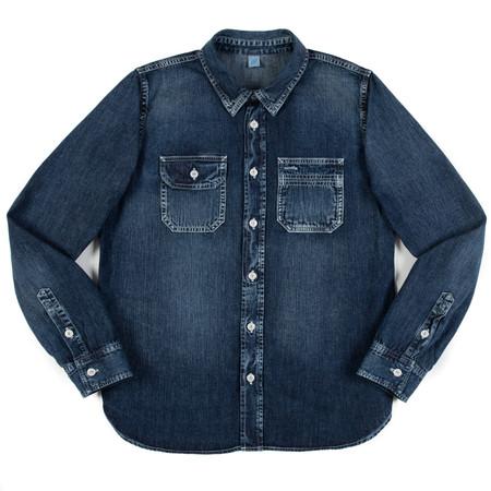 Pure Blue Japan PBJ Hand Distressed Work Shirt - Indigo 6 Ounce Denim