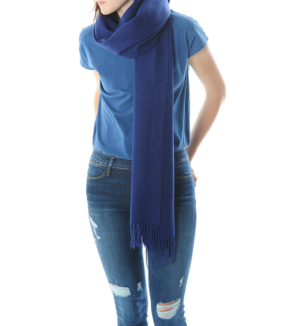 Won Hundred Medieval Blue Caden Wool Scarf