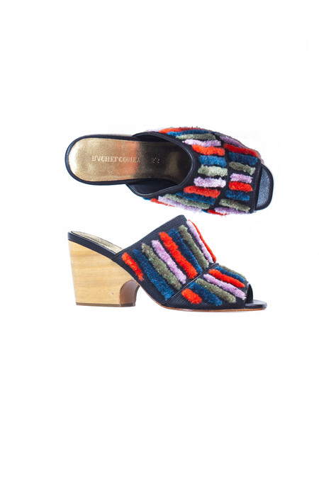 Rachel Comey Dahl Slide - Multi Stripe Embroidery