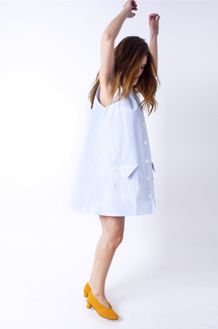 Samantha Pleet Trapeze Dress - Blue & White Stripes
