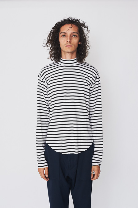 Assembly New York Cotton Reverse Terry Mockneck - Thick Stripe