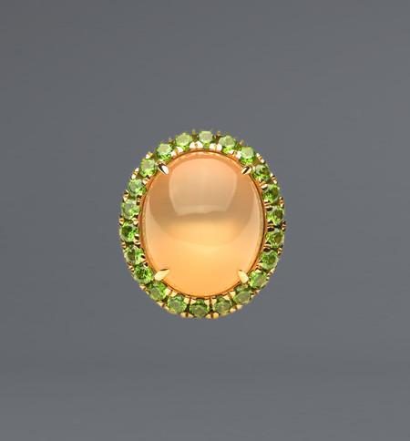 Lola Fenhirst Moonstone Garnet Cocktail Ring