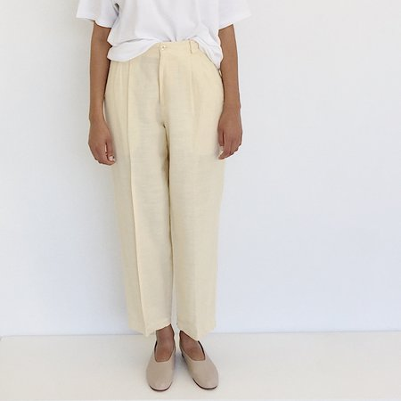 Johan Vintage Pale Lemon Linen Cotton Pant