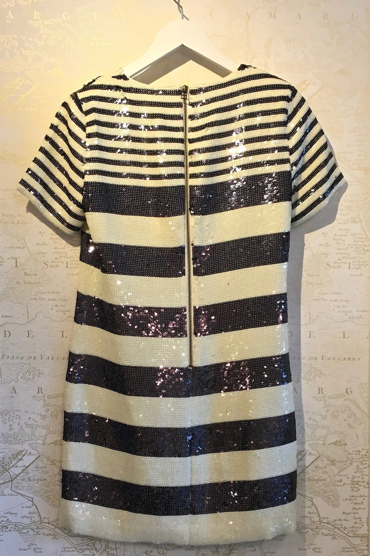 Veronica Beard Evan Sequin Stripe Tee Shirt Dress