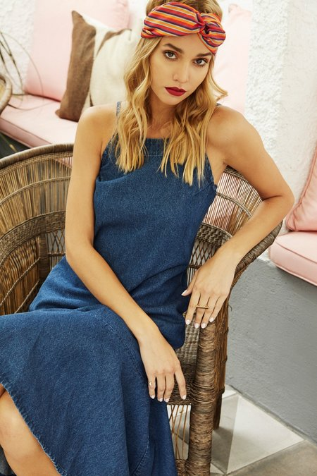 Lush Beiba Denim Ruffle Midi Dress
