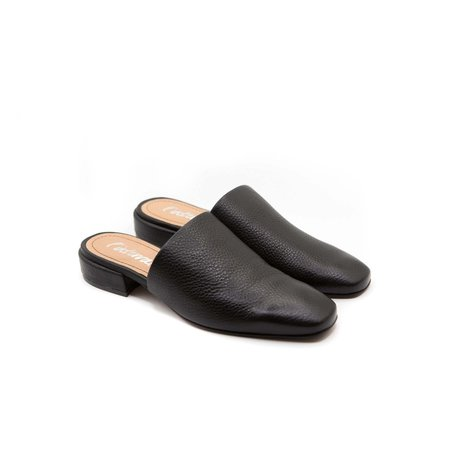 L'Intervalle Abeille Slides - Black Leather