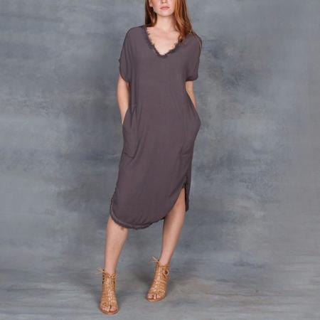 Raquel Allegra V-Neck Rayon Crepe Dress Slate Grey