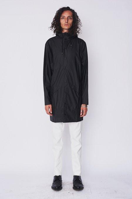 Rains Hooded Rain Long Jacket - Black