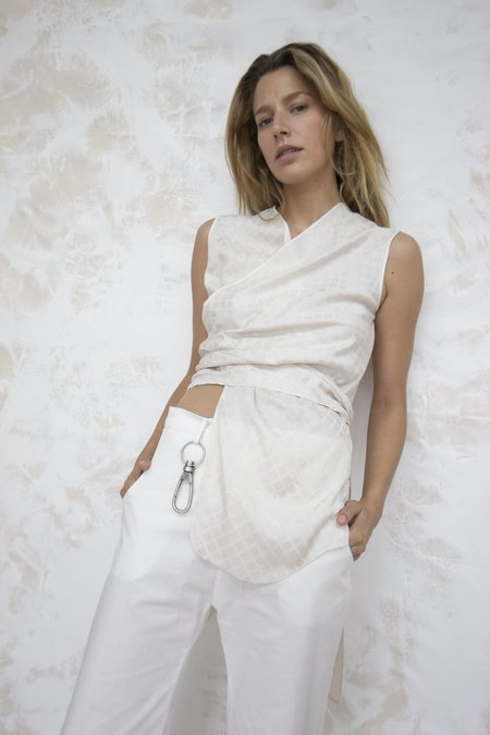 Index Series Ivory Wrap Sleeveless Top