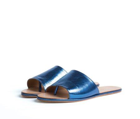 the palatines shoes caelum slide sandal - blue metallic leather